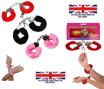 FURRY FLUFFY HANDCUFFS RED BLACK PINK FANCY DRESS HEN NIGHT STAG DO PLAY TOY UK (Furry Kostüme Uk)