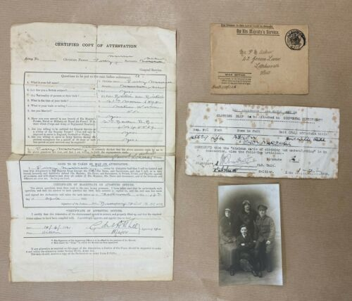 WW1 2/nd RIFLE BDE, ATTESTATION, UNIFORM PHOTO,LETTER OF DISCHARGE & ENVELOPE.