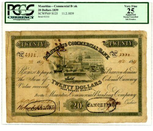 Mauritius ... P-S125 ... 20 Dollars ... 11.2.1839 ... *VF* PCGS 25.