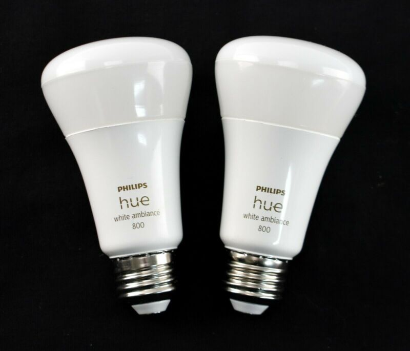 Philips Hue 548560 White Ambiance A19 Bluetooth Smart LED Bulb (2-Pack) - 8074sw