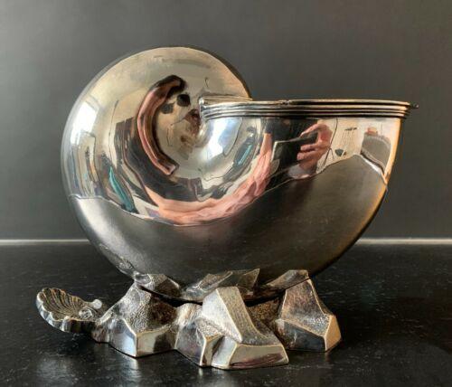 Art Deco Antique Sheffield Silver Plate Nautilus Shell Serving Dish 1860