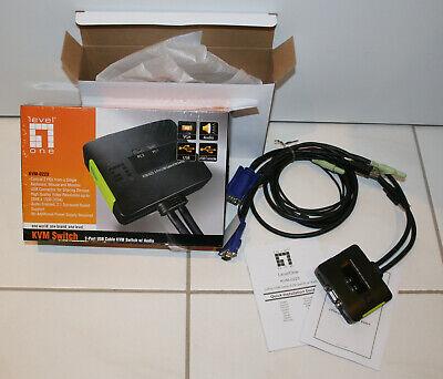 LevelOne KVM-Switch KVM-0223 2-Port Cable KVM Switch VGA USB Audio in OVP