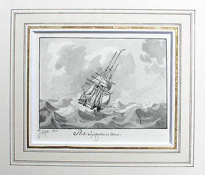 JOSEPH SIPKES - ORIGINAL SIGNIERT 1832 Segelschiff Sailboat Marine ship zeilboot