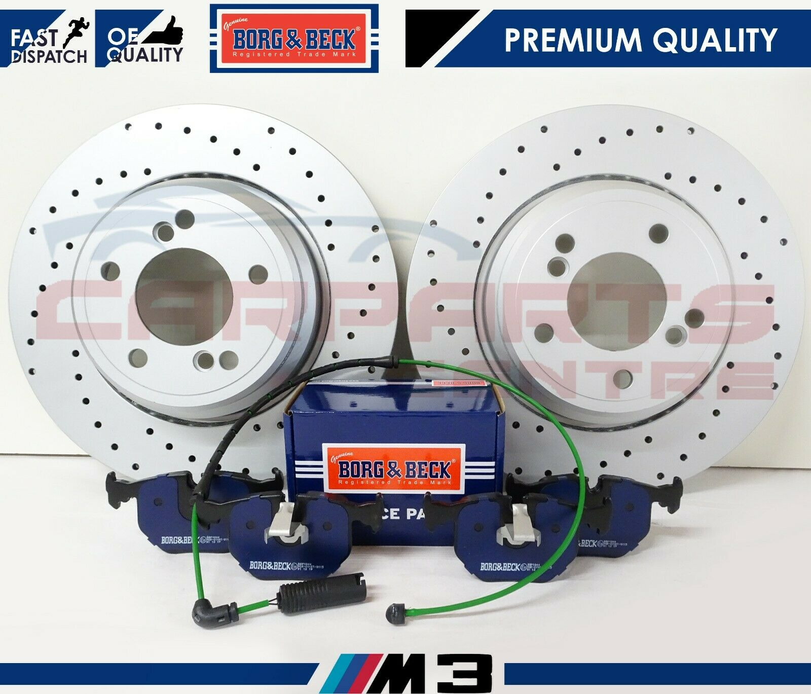 BMW E46 M3 3.2 COUPE CONVERTIBLE FRONT AND REAR BRAKE DISC PADS AND SENSORS SET