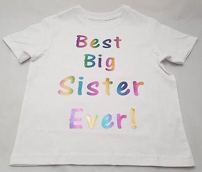 Best Big Sister Ever Rainbow Girls T-Shirt Age 2 to 12