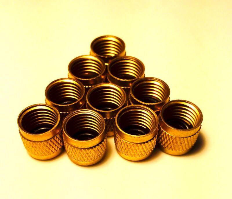 "10 Brass Valve Caps 1/4"" (10) -ACCESS VALVE CAPS SAE 1/4"" 1/4 IN REFRIGERATION"