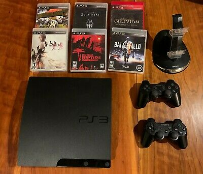 Sony PlayStation 3 PS3 Slim Console 320Gig with 2 controllers and 6 games