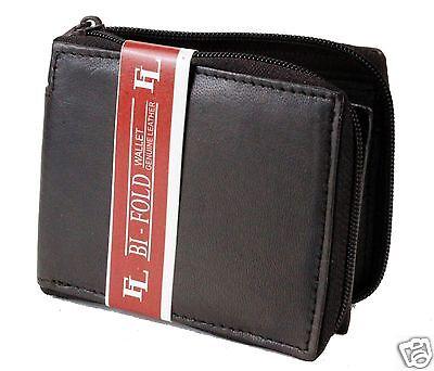- Mens Genuine Leather Bifold Zipper Zip Around Wallet Brown Window ID Credit Card