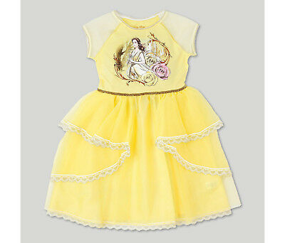 Girls Beauty and the Beast The Movie Belle Yellow Tulle Costume Dress~Halloween