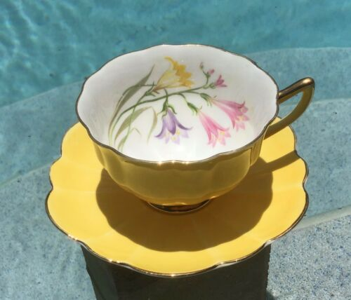 rare SHELLEY Wild Flowers Yellow gold stratford TEA CUP & SAUCER SET Gold Trim