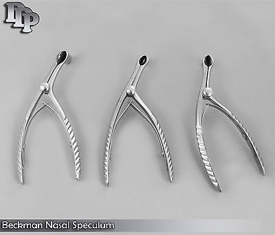 3 Beckman Nasal Speculum Small Medium Large Ent Surgical Instruments