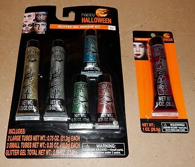 Halloween Glitter Gel Makeup Kit With 5 Colors & Fake Blood Tube 1oz 173T
