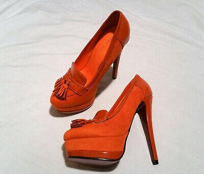 Stiletto Plateau-Pumps Velour orange 14,5 cm Gr.37 Pinkfarbene Sohle  NEU  Orange Stiletto