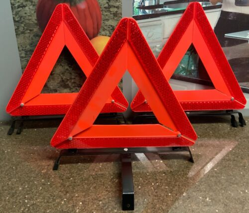 """Safety (3 Pack) Warning Reflective Triangles 13.5""""T x13""""W Folds Flat For Storage"""