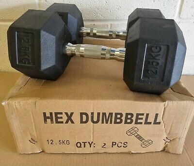 Brand New 12.5kg Rubber Hex Dumbbell Pair Gym Weight Set Home Dumbells HIIT