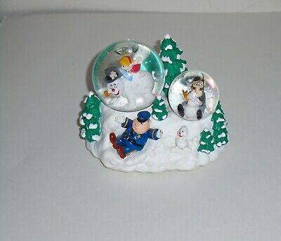 2000 Rare Enesco Musical Frosty the Snowman Double Snow Globe