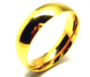 Anello-Uomo-Donna-In-Acciaio-Inox-Placcato-In-Oro-Lucido-Fede-Nuziale-6mm