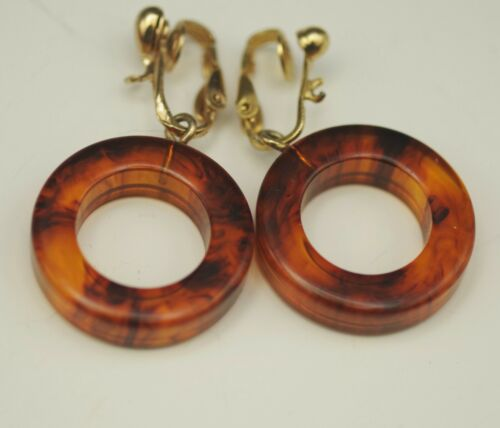 ART DECO BAKELITE TORTOISE SHELL RINGS CLIP ON EARRINGS VINTAGE TESTED