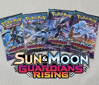 Pokemon Guardians Rising 4 Sealed Booster Packs Sun and Moon Trading cards