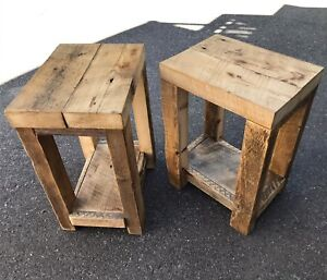2 x Rustic Reclaimed Barn Wood Side / End Tables / Night Stands