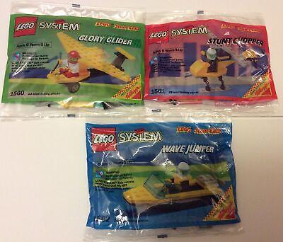 Vintage Lego Stunt Club Kelloggs Lot Of 3 Glory Glider Stunt Chopper Wave Jumper