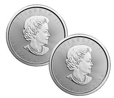 Lot of 2 - 2018 $5 1oz Canadian Silver Maple Leaf Coins .9999 Fine BU