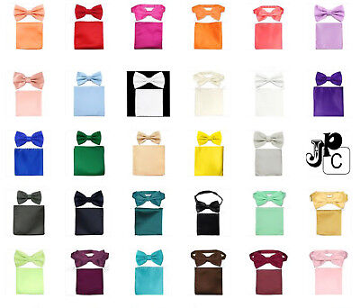 (Men's Butterfly Pre-tied Bow tie and Pocket Square Hanky Set Wedding Party Prom)