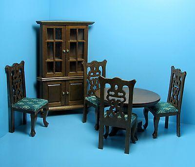 Dollhouse Miniature Dining Room Set with Corner Hutch in Walnut ~ T0108
