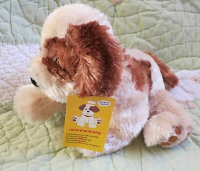 Snuggie Toy Silky Soft Plush Cream Brow Stuffed Record & Play Puppy Dog NWT 9