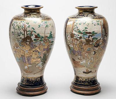 Pair of Antique Meiji Japanese Satsuma Ware Vases with Children & Warriors