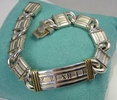 (Tiffany & Co Vintage ATLAS Numeral Sterling 18k Yellow Gold Curved Link Bracelet)