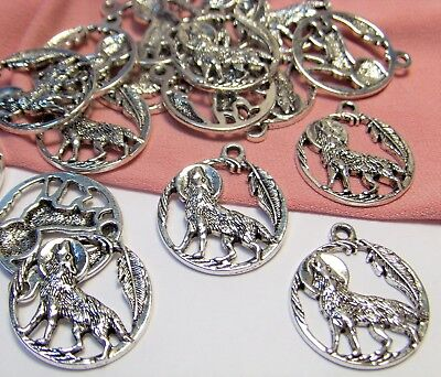 SILVER HOWLING WOLF PENDANTS LOT-SOUTHWEST-35 PCS-FINDINGS-CHARMS-JEWELRY MAKING