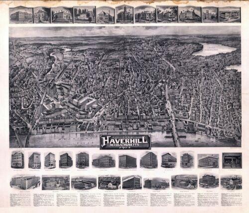 1914 HAVERHILL MASSACHUSETTS ESSEX panoramic map GENEALOGY poster ma39
