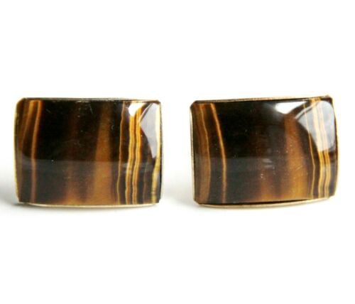 Large Tiger Eye Natural Stone Gold Plated Vintage Cuff Links