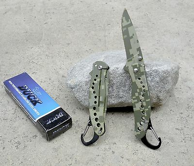 "7.5"" Green Camo Duck Tactical Spring Assisted Pocket Knife with Clip Carabiner"