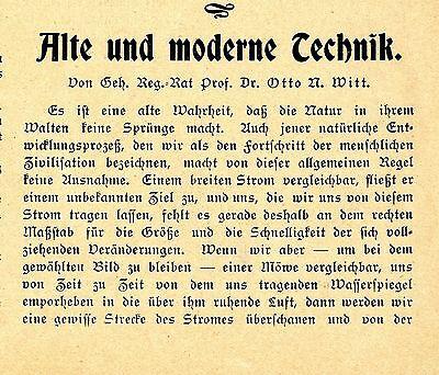 Geh. Reg.- Rat Prof. Dr. Otto A. Witt Alte und moderne Technik Textdokument 1904
