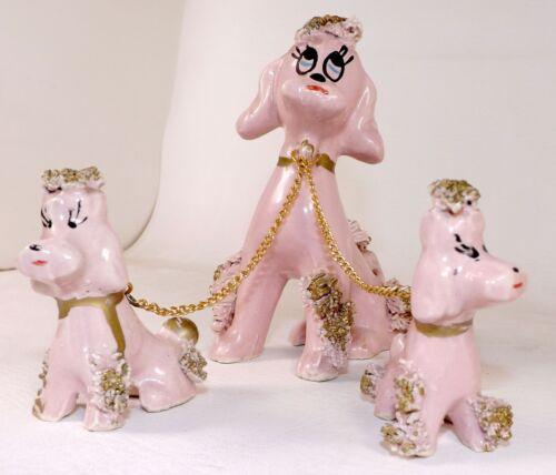 Ceramic Pink Poodle Chained Pups Spaghetti Figurine Vintage 50s Mid Century MCM