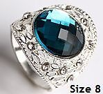 New- London Blue, Silver & White CZ Sterling Silver Ring. Size 8