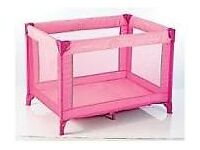 pink travel cot Bargain