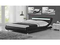 King size leather bed with led mood strip