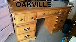 Oakville DESK Solid Wood 51w 18dp 30high RETRO VINTAGE STUDENT CHILD ADULT STUDY TABLE DRAWERS STORAGE  Free Chair