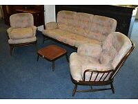 Vintage Mid Century Ercol Jubilee 3 seater sofa, 2 x armchairs and footstool - Edinburgh