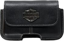 Harley-davidson Cell Case Leather Smartphone With Tags Blk Bar & Shield Logo