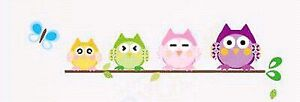 Cute Colorful Owls on a branch