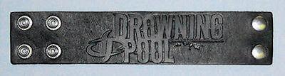 DROWNINGPOOL - BLACK LEATHER EMBOSSED WRIST BAND - NEW