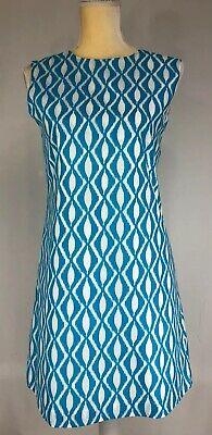 Oscar De La Renta Girls Shift Dress 14Y Sleeveless Cotton Blue White