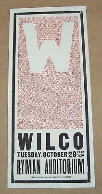 Wilco Ryman Auditorium 2002 Restrike Concert Hatch Show Print Letterpress Mint