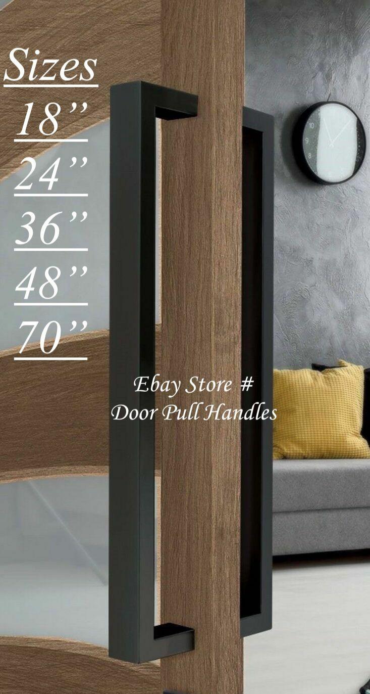 Entry Door Pull Handle Black Entrance Modern Square Long sta