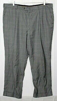 HICKEY FREEMAN New York 42 X 30 Gray w/ Blue Plaid Wool Single Pleat Pants