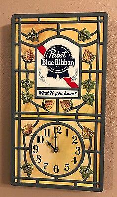 PABST BLUE RIBBON BEER PBR WALL CLOCK BAR SIGN BAR BATTERY OPERATED